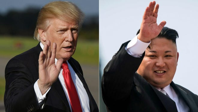 This combination of pictures created on October 1, 2017 shows, President Trump at Morristown, New Jersey, Municipal Airport on September 15, 2017; and North Korean leader Kim Jong-Un waving following a military parade in Pyongyang on April 15, 2017.