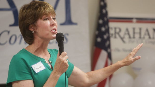 Democratic Rep.-elect Gwen Graham speaks at a campaign event in Panama City, Fla.