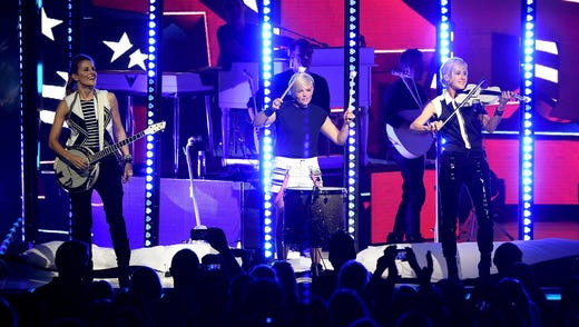 Emily Strayer, Natalie Maines and Martie Maguire of the Dixie Chicks perform June 1, 2016, in Cincinnati.