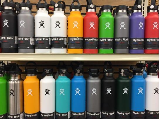 The rainbow display of Hydro Flasks at Big Bear Sports