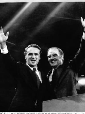 George McGovern and Thomas Eagleton at the Democratic convention, July 1972, Miami Beach, Fla.