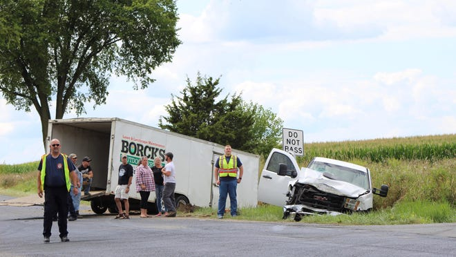 A GMC Sierra and Toyota Prius (not pictured) collided Thursday afternoon at the intersection of Beecher Road and Benner Highway near Clayton. Minor injuries to one passenger was reported.