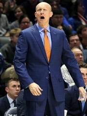 Xavier Musketeers head coach Chris Mack instructs the team in the second half during the college basketball game between the Xavier Musketeers and the DePaul Blue Demons, Saturday, Dec. 30, 2017, Cintas Center in Cincinnati.
