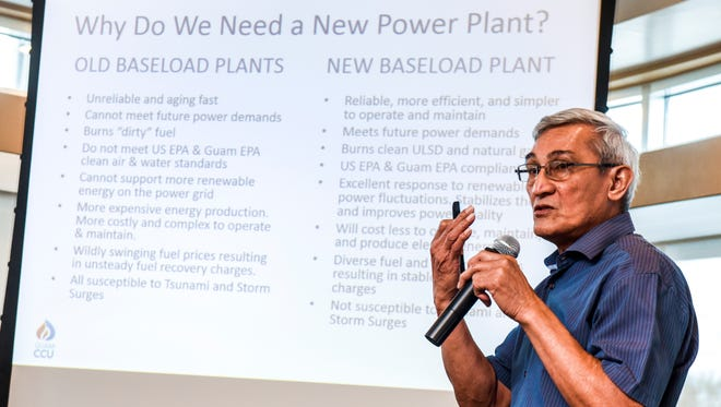 Guam Power Authority General Manager John Benavente explains the necessity to build a new 180 megawatt baseload power plant during a presentation at the Gloria B. Nelson Multipurpose Building in Mangilao on Tuesday, Jan. 23, 2018.