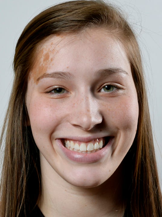 Delone Catholic's Maddie Comly, a GameTimePA all-star basketball player. Portrait taken Sunday, March 15, 2015, at York Catholic. Chris Dunn Ñ Daily Record/Sunday News