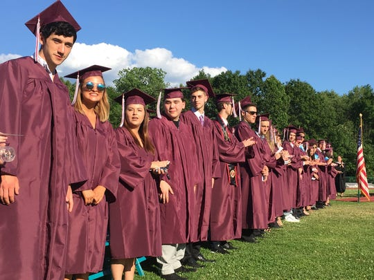 Members of the New Paltz High School Class of 2016 gather at the start of Friday's commencement ceremonies in New Paltz.