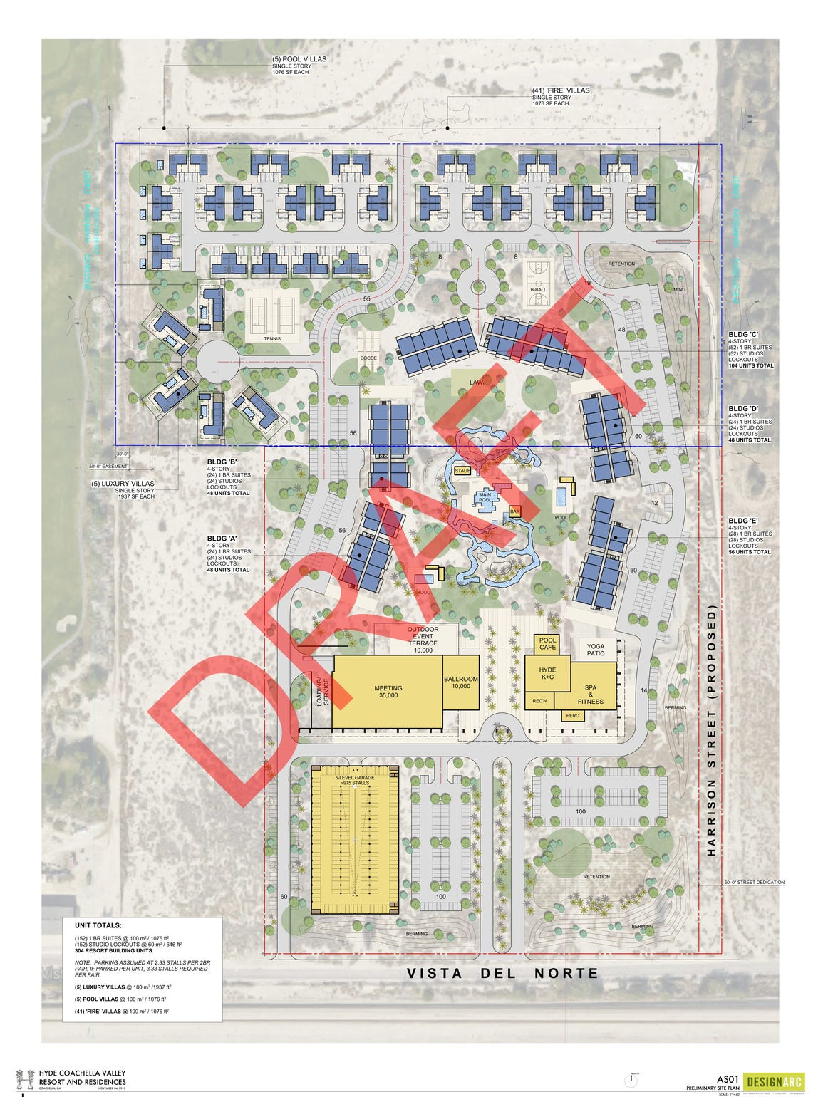 A site plan for Hyde Coachella Valley Resorts and Residences