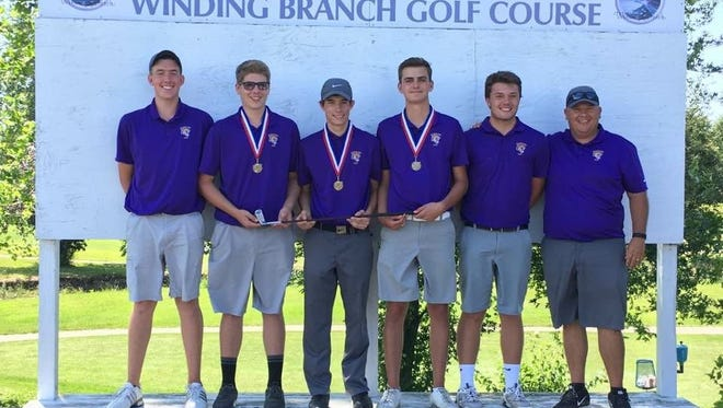 Hagerstown's golf team set a school record with a 300 Wednesday, winning a third consecutive Wayne County title.