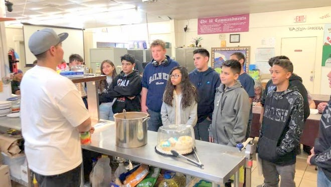 A seventh-grade class at La Plata Middle School chose to do a food drive for the Silver City Gospel Mission and collected 300 pounds of food.