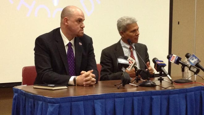 Superintendent Bolgen Vargas and East Principal Anibal Soler address the media earlier this year.