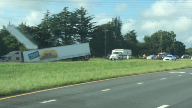 A tractor-trailer truck hit a farm tractor south of Eastville late Thursday.