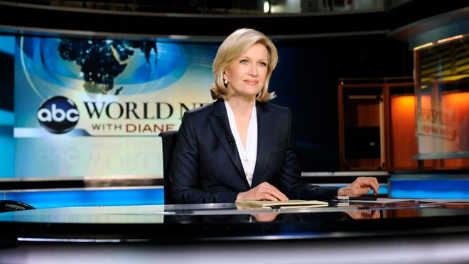 New ABC World News anchor Diane Sawyer tapes a news brief before her live evening broadcast from New York on Monday, Dec. 21, 2009. (AP Photo/ABC, Ida Mae Astute)