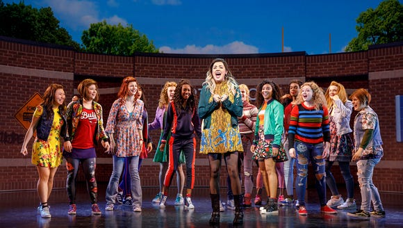 """Janis (Barrett Wilbert Weed) rallies her classmates after the """"Burn Book"""" threatens to tear their high school apart in Broadway musical """"Mean Girls."""""""