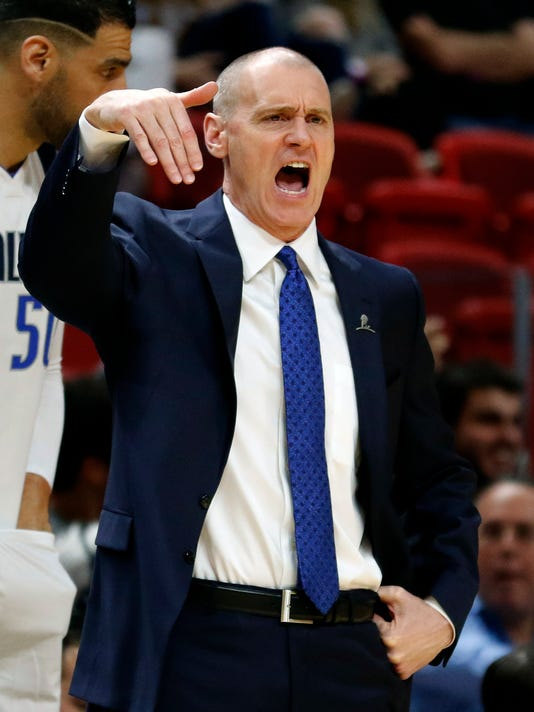 Dallas Mavericks head coach Rick Carlisle reacts in the first quarter of play against the Miami Heat in an NBA basketball game, Friday, Dec. 22, 2017, in Miami. (AP Photo/Joe Skipper)