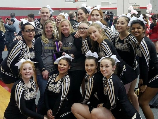 Corning-Painted Post's cheerleaders earned a runner-up finish at the Sweetheart Classic at Chenango Valley High School on Feb. 10.
