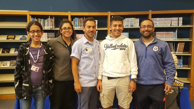 From left to right, Ysmari Munoz, Blanca Munoz, Piero Munoz, Zibby Munoz and Lake View coach Kyle Jones. Zibby Munoz signed a letter of intent Monday, Dec. 11, 2017, to play soccer for Howard Payne University.