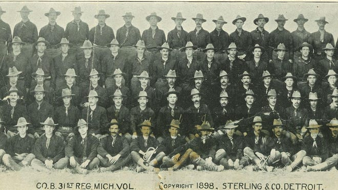 The enlisted men of Company B, 31st Michigan Voluntary Infantry, are pictured here.