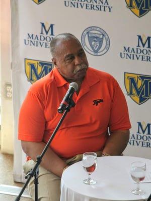 Former Detroit Tigers outfielder Willie Horton speaks Thursday at Madonna University.