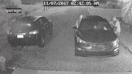 Surveillance video still from one of two dozen car burglaries being investigated in Golden Gate Estates.