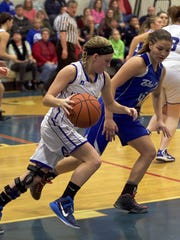 McConnellsburg's Alexis Mellott dribbles down court against Johnstown Christian in the District 5 Class A quarterfinals. Mellott and the Spartans will need to be on their A game on Wednesday when they take on the No. 1-seeded Meyersdale in the semis.