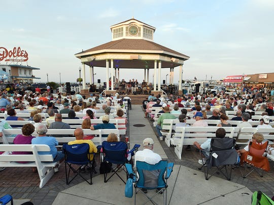 Fireworks were held in Rehoboth Beach on Sunday, July 1, on the beach with a large crowd on hand and local favorites The Funsters playing at the bandstand.
