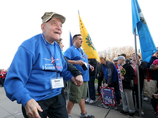 Dom Russo a WWII Marine Corps veteran arrives for the