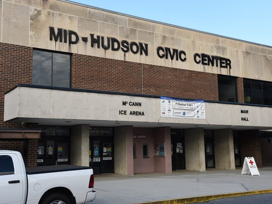 A view of the front of the Mid-Hudson Civic Center in the City of Poughkeepsie.