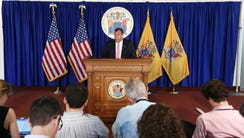 Gov. Chris Christie holds a press conference in Trenton