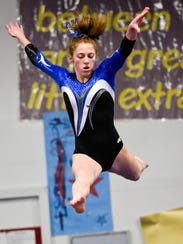 Kacey Noseworthy was second on the balance beam for