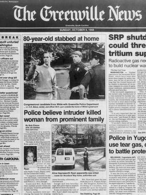 The front page of The Greenville News on Oct. 9, 1988.