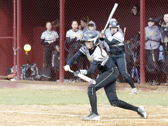 Mikayla Brucie bunts for Corning on April 20 in a 3-0