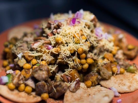 A chicken tikka chaat dish from Chaat and Chai on Snyder Avenue in South Philadelphia.