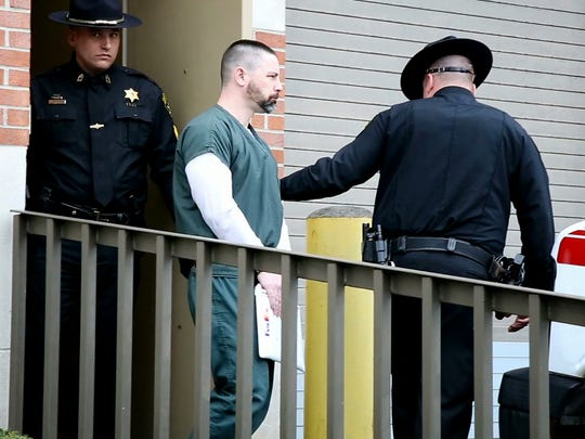 Thomas Clayton leaves the Steuben County Courthouse April 20 after a motion for a new trial was denied by judge Peter Bradstreet.