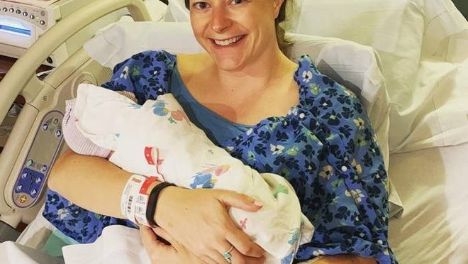Kira Johnson of Franklin and daughter Taya Johnson after her birth April 24, 2020 at Signature Healthcare Brockton Hospital.