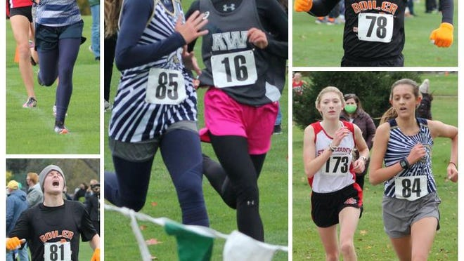 Scenes from Saturday's Class 1A cross country regional in Rock Island. From left, Ridgewood's Kendra Downing (42) speeds through the mile marker, Kewanee's Calvin Desplinter (81) hits the line, Mercer County's Maddie Hofman (85) races Annawan-Wethersfield's Danielle Johnson (16) to the finish mat, Kewanee's Gabe Johnson (78) surges to the line, and Stark County's Alyssa Dyken (173) tries to pass Mercer County's Eden Mueller (84) heading into the stretch.