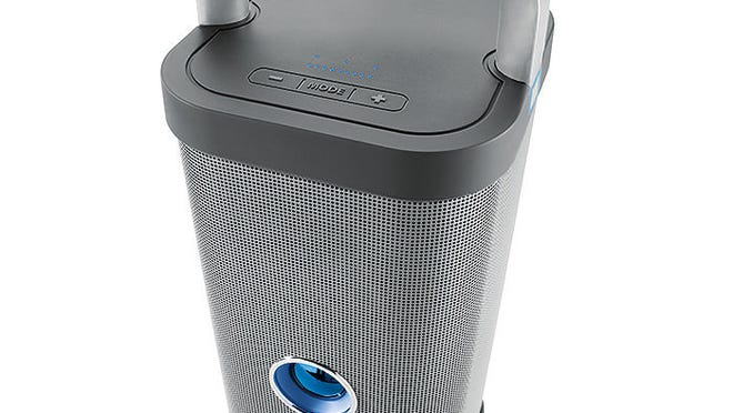 The Big Blue Party is a 72-watt speaker from Brookstone that boasts four full-range speaker drivers that can amp up the sound indoors or out.