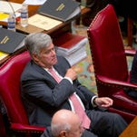 Senate Majority Leader Dean Skelos, R-Rockville Centre, sits in the Senate Chamber during session at the Capitol on Wednesday, April 22, 2015, in Albany.