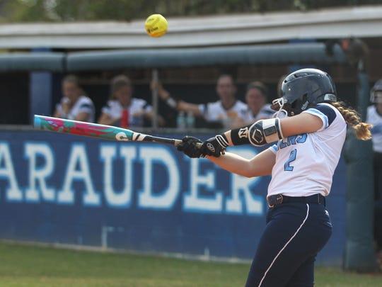 Maclay eighth-grader Ashlyn Gooch bats during a win Tuesday over Taylor County.