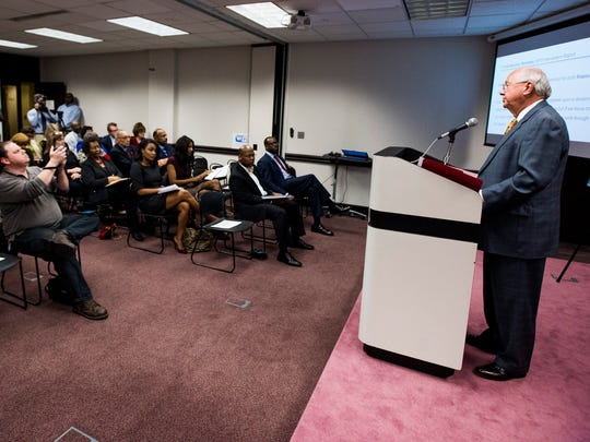 Interim State School Superintendent Ed Richardson announces plans for the Montgomery Public Schools intervention in Montgomery, Ala., on Friday February 9, 2018.