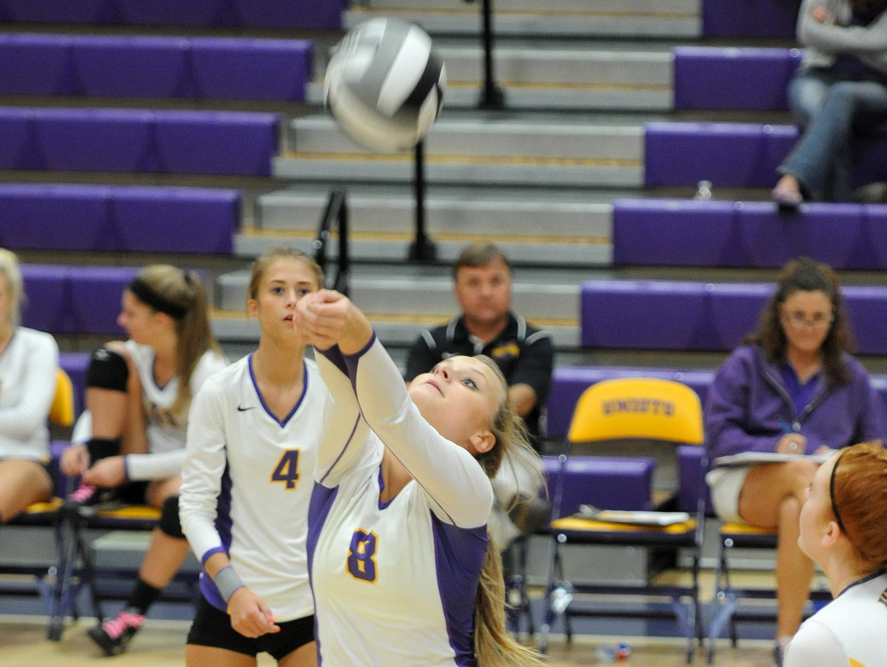 Unioto's Ashley Taylor bumps the ball during the second match against Zane Trace at Unioto on Thursday. the final score was Unioto 3, Zane Trace 0.