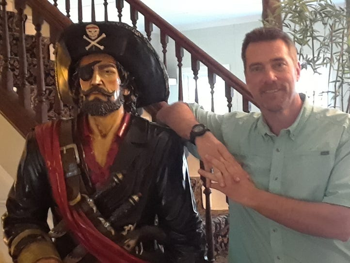 Chip Stevens has a life-size statue of a Blackbeard-looking