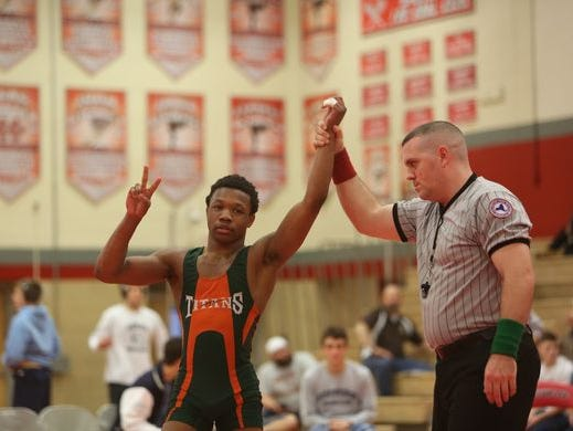 East Ramapo's Trey Wardlaw won his second county wrestling action during the Rockland county wrestling championship at Tappan Zee High School Jan. 30, 2016