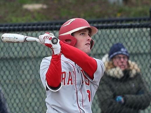 North Rockland's Chris Dodrill (9) hits a solo home run against Mamaroneck at Mamaroneck High School April 6, 2016. North Rockland won the game 4-1.