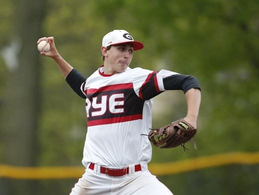Rye pitcher George Kirby (8) works the mound during their 3-0 win over Harrison at Disbrow Park in Rye on Wednesday, May 04, 2016.