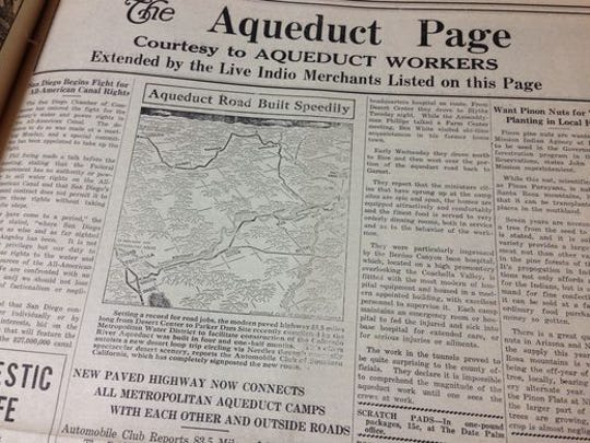 A page from an issue of the The Date Palm, the valley's newspaper of record at the time. This is from a 1933 issue. Local merchants sponsored the Aqueduct Page while construction of the tunnel was taking place in the Coachella Valley. Courtesy of the Coachella Valley History Museum in Indio.