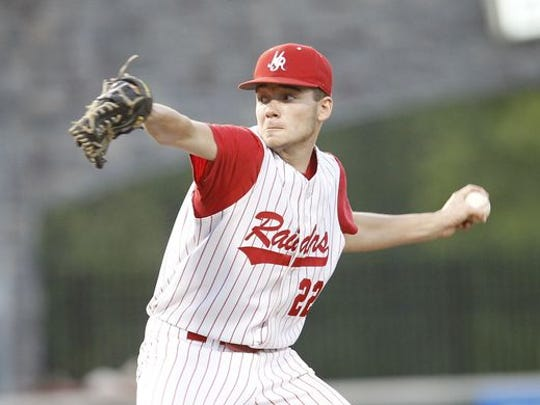 North Rockland pitcher Eric Sandusky (22) delvers a