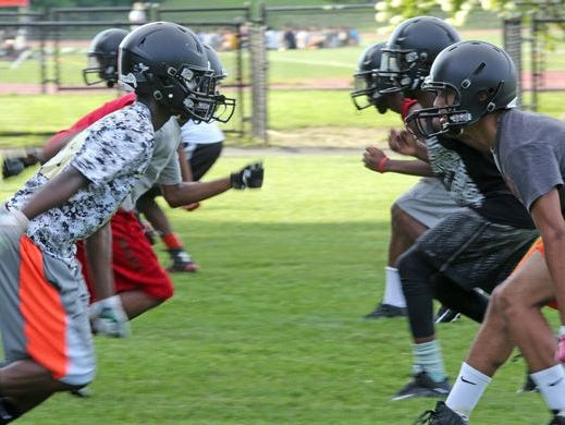 The White Plains football team is shown practicing on Aug. 15, 2016.