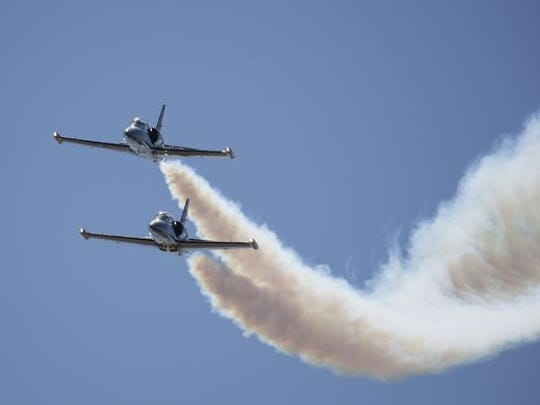 The Breitling Jet Demo entertains the crowd during the Reno National Championship Air Races at Stead Airport on Sept. 17, 2015.