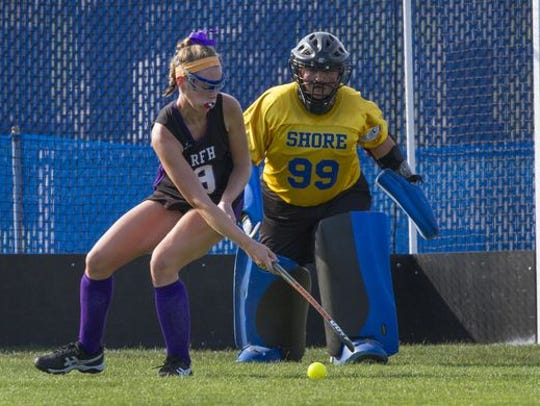 Shore Regional senior goalie Molly Santi watches Rumson-Fair