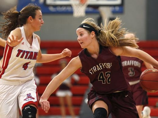 Strafford sophomore Haley Frank (right) scored 35 points in the 2016 Pink and White Lady Classic Pink Division championship game against Mercer County (Harrodsburg, Kentucky)